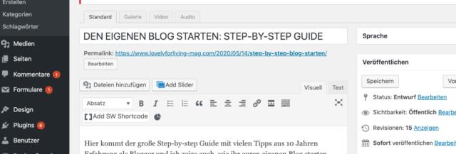 Blog starten WordPress